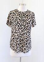 NWT Ann Taylor Leopard Print Short Sleeve Button Down Blouse Top Size XS Black