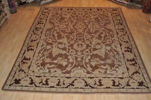 GENUINE HANDMADE MAHAL RUG 9x12 Ft.  brown plum rust beige camel khaki rug