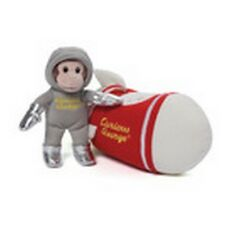 "Gund Retired - 6"" Curious George - Astronaut - Rocket Ship Sound Toy - Nwt"
