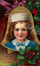 Fabric Block Lot of 6 Christmas Victorian Children Bell Ornaments Cotton