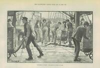 1889 Antique Print DOCKERS AT WORK UNLOADING A CARGO OF TEA  (374)