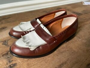 Robert Clergerie Barneys New York Fringed Leather Oxford Loafers - Size 7.5