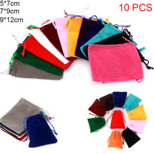 10X Velvet Cloth Drawstring Bag Small Gift Bag Jewelry Ring Pouch Wedding Favors
