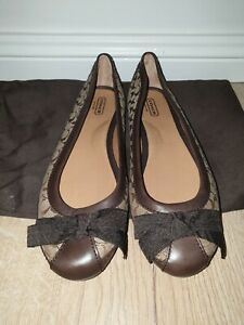 Preloved GENUINE Coach Ballerina Leather Flats With Bow Detail
