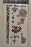 NFL 1 SHEET 7 TEMPORARY TATTOOS NEW ORLEANS SAINTS  FREE SHIPPING