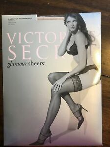 Victoria's Secret Glamour Sheers Naked Lace Top Thigh Highs Stockings Medium