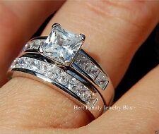 Sterling Silver Princess Diamond cut Engagement Ring Wedding Bridal Set Women's