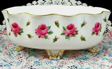 ANTIQUE 1888 MINTONS PAINTED PINK ENAMEL ROSES 4 FOOTED FRILLY BOWL