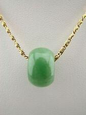 Genuine Natural Green Jade Pendant Barrel Bead #275