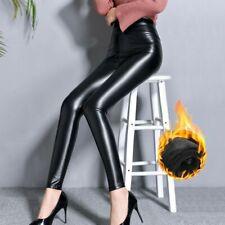 Damen Glänzend Kunstleder Leggings Hose Stretch Warm Fleece Gefüttert Hose