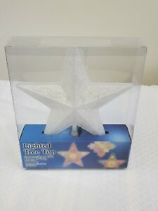 """10""""  White Frosted Color Changing Lighted Tree Top Christmas Star - New in Box"""