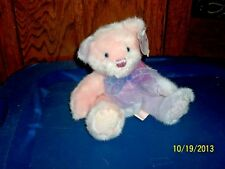 """FIRST & MAIN PASTEL PINK AND LAVENDER CAITLYN TEDDY BEAR PLUSH WITH TAGS 7"""" TALL"""