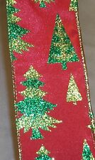 "5 yds. RED GLITTER CHRISTMAS TREES WIRE EDGE RIBBON  2 1/2"" Wide"