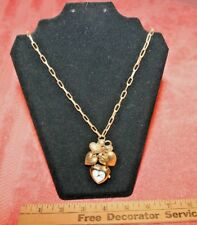 "Robert Rose Heart Shaped Quartz Pendant Watch Necklace 36"" Long Gold-tone"