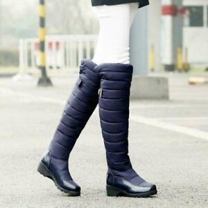 WInter Womens Knee High Snow Boots QuilteWaterproof Wedge Fashion Shoes Platform