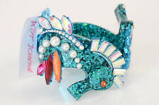 Betsey Johnson blue glitter seahorse crystal faux pearl bangle bracelet NEW $125