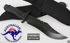 hunting knife RAZOR SHARP HUGE CAMPING BOWIE BLACK MILITARY SS STEEL pig hunting