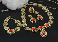 4 PIECE GOLD OVAL DROP RED ACRYLIC CRYSTAL NECKLACE EARRING BRACELET RING SET