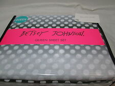 New Betsey Johnson Ombre Dots Queen Sheet Set ~ Black Grey White NIP