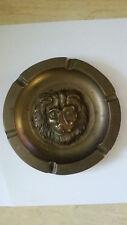 Vtg Disney Solid Brass Lion Head Ashtray Round Embossed Design