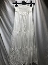 Zara Trf White Cotton Maxi Strapless Bandeau Dress Skirt M 10-12