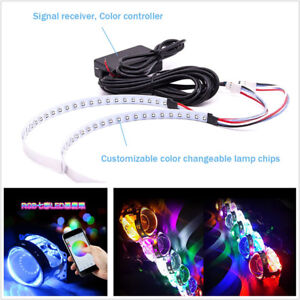 2 Pcs Bluetooth Wireless 15SMD RGB LED Vehicle Demon Eye Halo Ring For Headlight