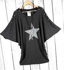 Gr. 44 46 48 - Italy Fledermaus Pullover Oversize Pulli mit Stern anthrazit  grau 2248d57246