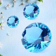 30/40/60mm Blue Crystal Diamond Paperweight Cut Glass Jewel Crafts Decoration Li