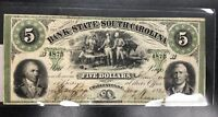 1861 $5 Bank of South Carolina B 4875 cancelled note AU see photos  C-1646