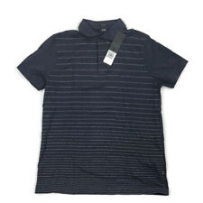 Hugo Boss Mens Polo Shirt Regular Fit Stretch Striped Navy Blue XL