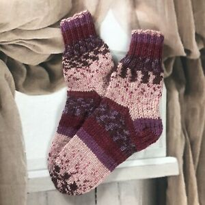 Size S 4-5 Hand knitted colourful Ethnic Native Folk Style Cosy Lounge Socks
