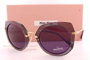 Brand New Miu Miu Sunglasses MU 02XS 04O 6O2 Transparent Grey/Violet For Women