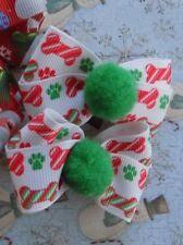 Christmas Dog Bows - set of 2 - for S to M dogs - Handmade - USA Seller