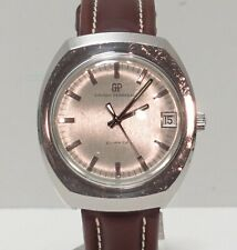 Girard Perregaux (GP) Quartz Watch Stainless Steel Brown Leather Band 1970s