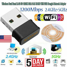 1200Mbps Wireless 2.4+5G Dual Band 802.11AC NANO Wifi USB Network Adapter Dongle