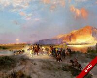 NATIVE AMERICAN INDIANS AT GREEN RIVER OIL PAINTING ART REAL CANVAS GICLEEPRINT