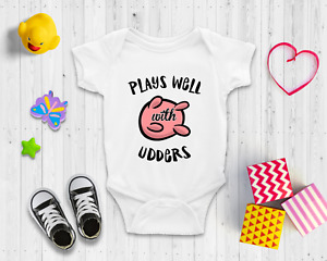 Plays well with udders Baby Bodysuit   Baby Shower Gift   Cute Baby Clothes