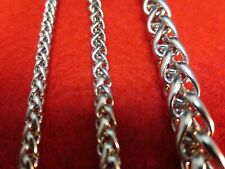 """3/4/7 MM Mens  16-60"""" STAINLESS STEEL SILVER BRAIDED WHEAT ROPE CHAIN NECKLACE"""