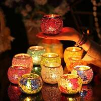 Wedding Party Dining Mosaic Crackle Glass Candle Holder Romantic Gift Tea Light