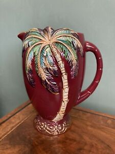Vintage Beswick Palm Tree Cocktail Jug 18cm tall Burgundy and Gold Detail