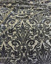"Black Damask Burnout 4 Way Stretch Velvet Fabric - BTY - 60"""