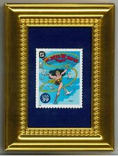 DC COMICS WONDER WOMAN  - A GLASS FRAMED COLLECTIBLE POSTAGE MASTERPIECE!
