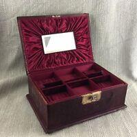 Victorien Bijoux Boîte Poitrine Antique Cuir Ajusté Intérieur Réparation