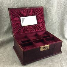 Antique Victorian Leather Jewellery Box Chest Case Fitted Interior For Repair