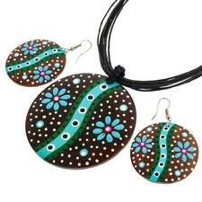 "2 3/8"" BLUE GREEN FLOWER HANDPAINTED WOOD necklace & earring SET"