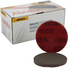 "Mirka Abralon 77 mm 3"" P4000 Grit 20x hooknloop Schiuma Pad Dischi di finitura fine"