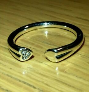 PANDORA TWO HEARTS  RING 196572CZ , S925 ALE, STERLING SILVER, ALL SIZES