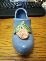 McCoy Planter Shoe Blue Turquoise Dutch Clogs Pink Rose Pottery Vase