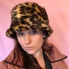 Leopard Faux Fur Fluffy Bucket Hat - Handmade - Festival