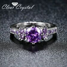 Purple Cubic Zirconia Ring Size 8 New Women's 10K White Gold Filled 2.5 Carat
